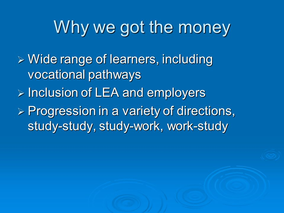 Why we got the money Wide range of learners, including vocational pathways Wide range of learners, including vocational pathways Inclusion of LEA and employers Inclusion of LEA and employers Progression in a variety of directions, study-study, study-work, work-study Progression in a variety of directions, study-study, study-work, work-study
