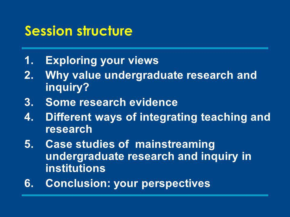 Session structure 1.Exploring your views 2.Why value undergraduate research and inquiry.