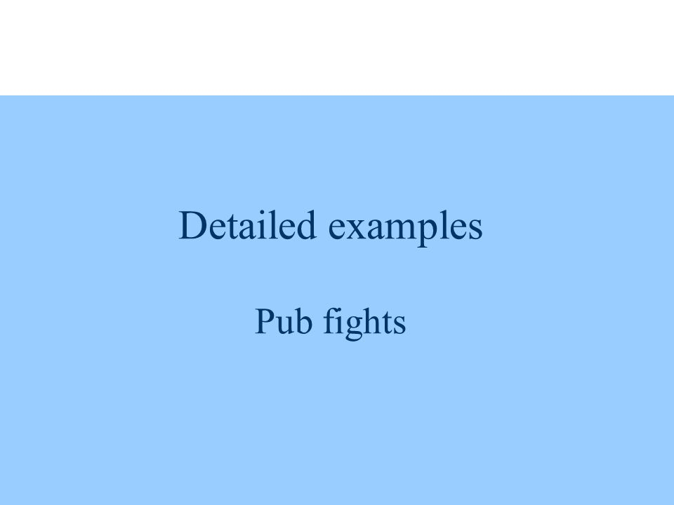 Detailed examples Pub fights