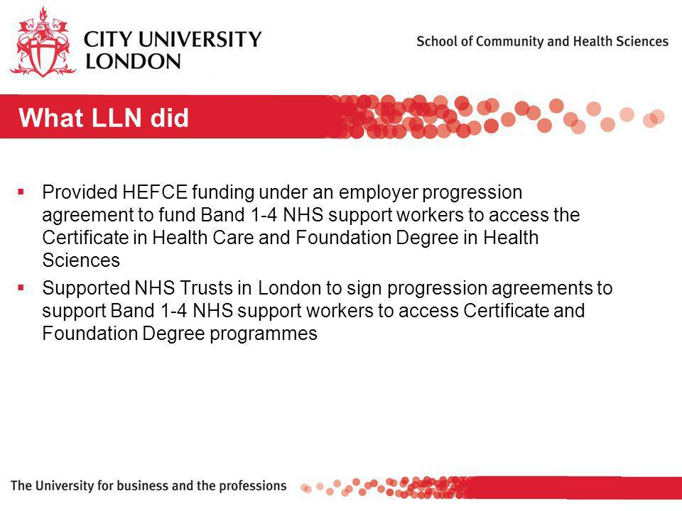 What LLN did Provided HEFCE funding under an employer progression agreement to fund Band 1-4 NHS support workers to access the Certificate in Health Care and Foundation Degree in Health Sciences Supported NHS Trusts in London to sign progression agreements to support Band 1-4 NHS support workers to access Certificate and Foundation Degree programmes
