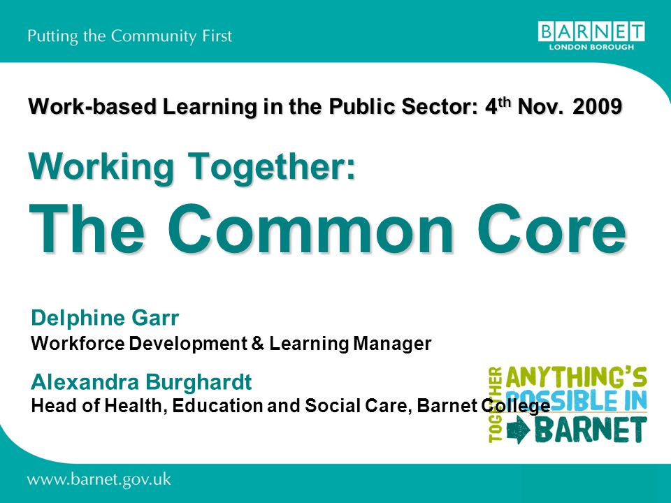 Work-based Learning in the Public Sector: 4 th Nov.