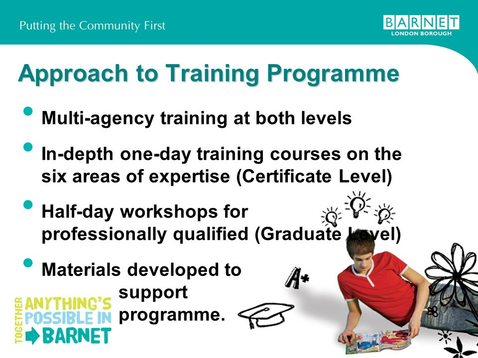 Approach to Training Programme Multi-agency training at both levels In-depth one-day training courses on the six areas of expertise (Certificate Level) Half-day workshops for professionally qualified (Graduate Level) Materials developed to support programme.
