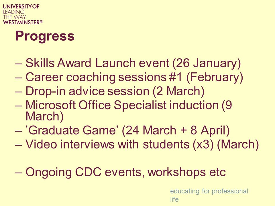 Progress –Skills Award Launch event (26 January) –Career coaching sessions #1 (February) –Drop-in advice session (2 March) –Microsoft Office Specialist induction (9 March) –Graduate Game (24 March + 8 April) –Video interviews with students (x3) (March) –Ongoing CDC events, workshops etc educating for professional life