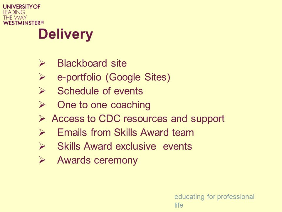 Delivery Blackboard site e-portfolio (Google Sites) Schedule of events One to one coaching Access to CDC resources and support  s from Skills Award team Skills Award exclusive events Awards ceremony educating for professional life