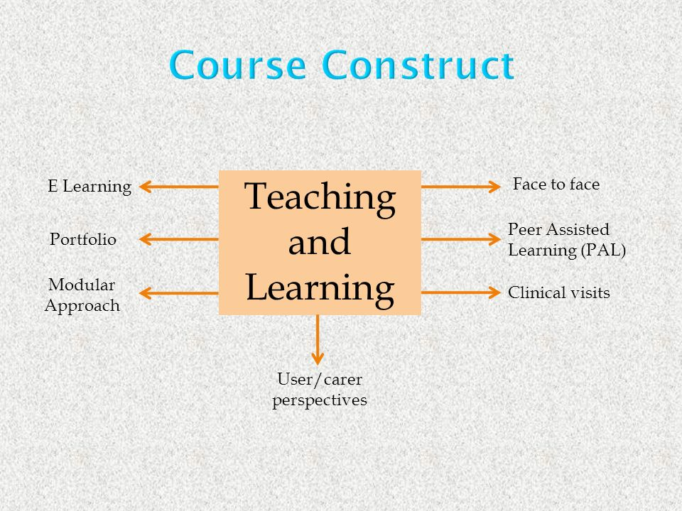 Teaching and Learning E Learning Portfolio Modular Approach Face to face Peer Assisted Learning (PAL) Clinical visits User/carer perspectives Course Construct