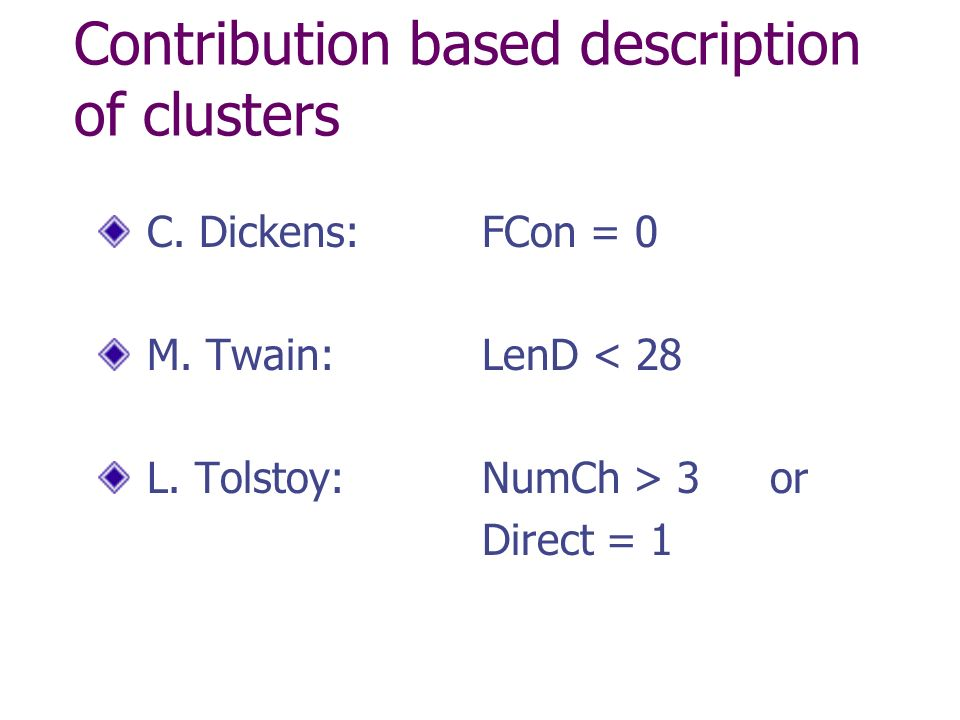 Contribution based description of clusters C. Dickens: FCon = 0 M.