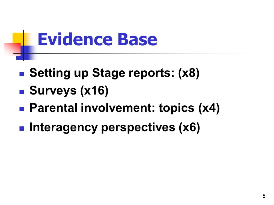 5 Evidence Base Setting up Stage reports: (x8) Surveys (x16) Parental involvement: topics (x4) Interagency perspectives (x6)