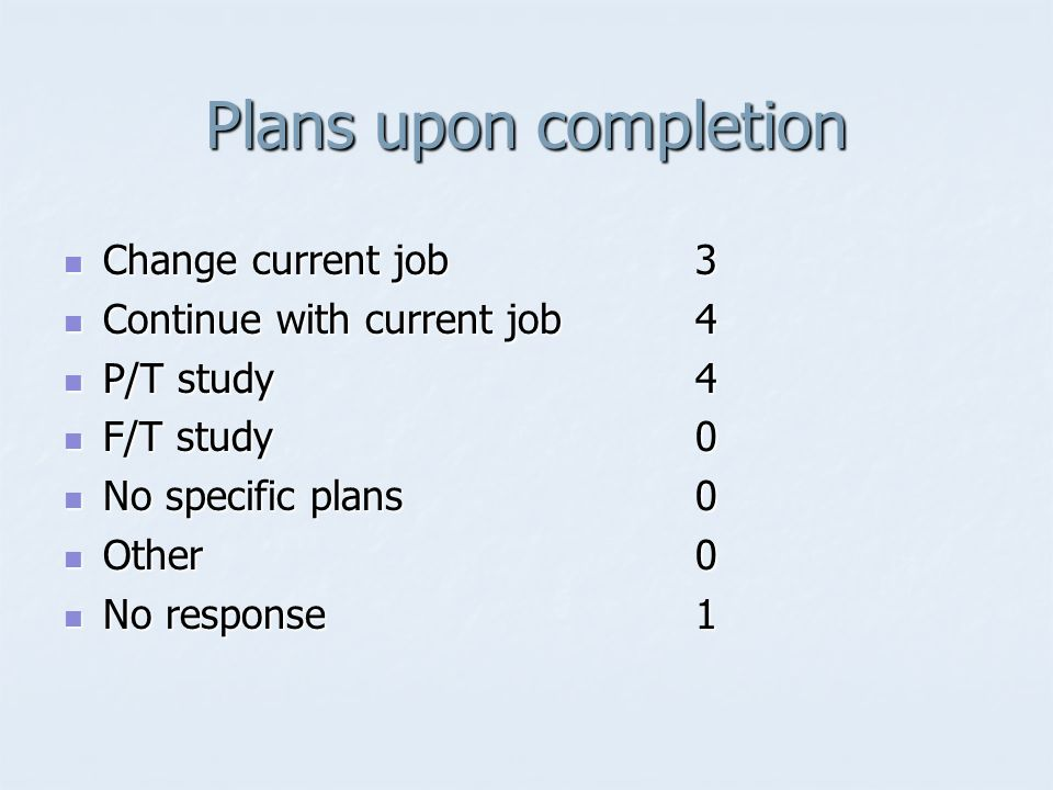 Plans upon completion Change current job3 Change current job3 Continue with current job4 Continue with current job4 P/T study4 P/T study4 F/T study 0 F/T study 0 No specific plans 0 No specific plans 0 Other 0 Other 0 No response1 No response1