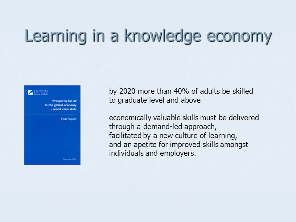 Learning in a knowledge economy by 2020 more than 40% of adults be skilled to graduate level and above economically valuable skills must be delivered through a demand-led approach, facilitated by a new culture of learning, and an apetite for improved skills amongst individuals and employers.