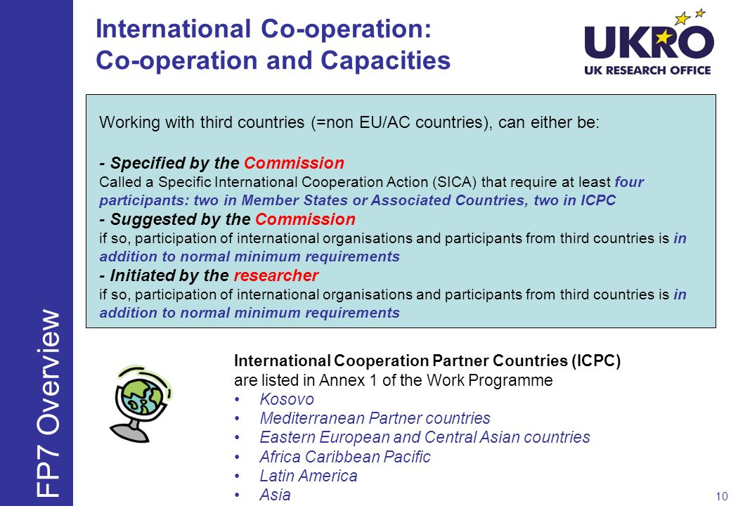 Working with third countries (=non EU/AC countries), can either be: - Specified by the Commission Called a Specific International Cooperation Action (SICA) that require at least four participants: two in Member States or Associated Countries, two in ICPC - Suggested by the Commission if so, participation of international organisations and participants from third countries is in addition to normal minimum requirements - Initiated by the researcher if so, participation of international organisations and participants from third countries is in addition to normal minimum requirements International Cooperation Partner Countries (ICPC) are listed in Annex 1 of the Work Programme Kosovo Mediterranean Partner countries Eastern European and Central Asian countries Africa Caribbean Pacific Latin America Asia International Co-operation: Co-operation and Capacities 10 FP7 Overview