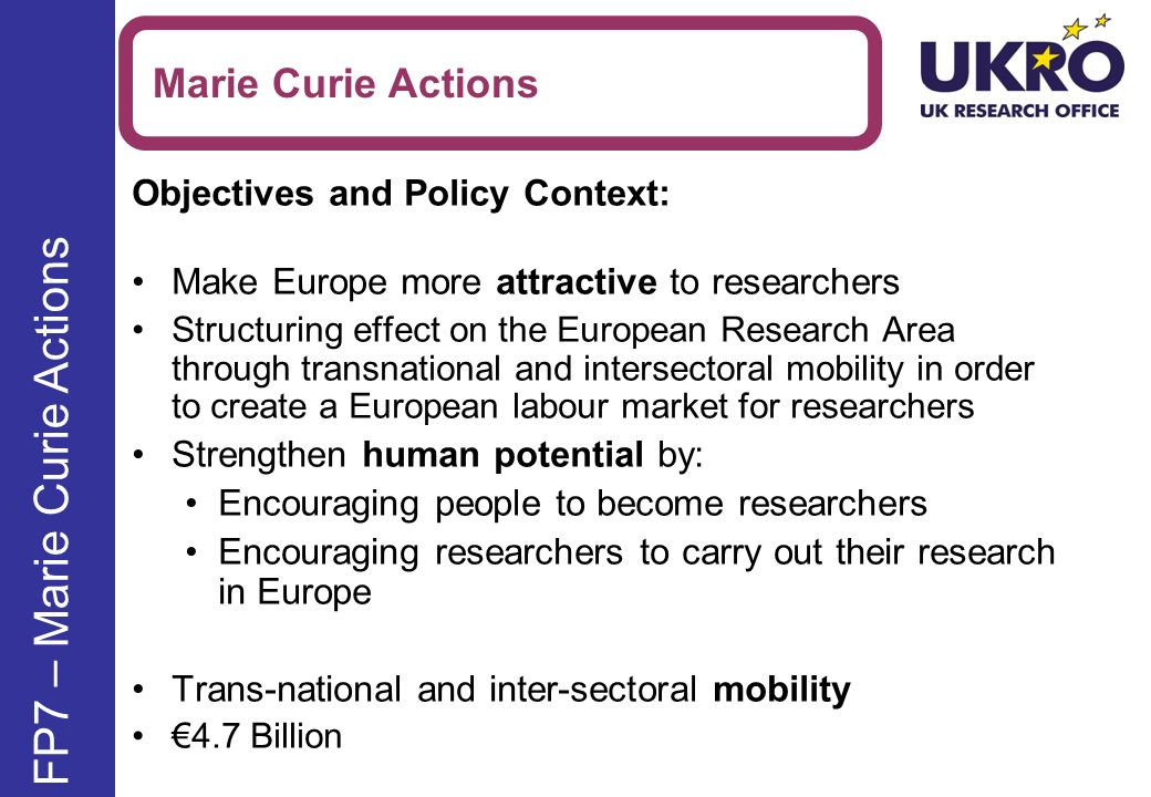 Objectives and Policy Context: Make Europe more attractive to researchers Structuring effect on the European Research Area through transnational and intersectoral mobility in order to create a European labour market for researchers Strengthen human potential by: Encouraging people to become researchers Encouraging researchers to carry out their research in Europe Trans-national and inter-sectoral mobility 4.7 Billion Marie Curie Actions FP7 – Marie Curie Actions