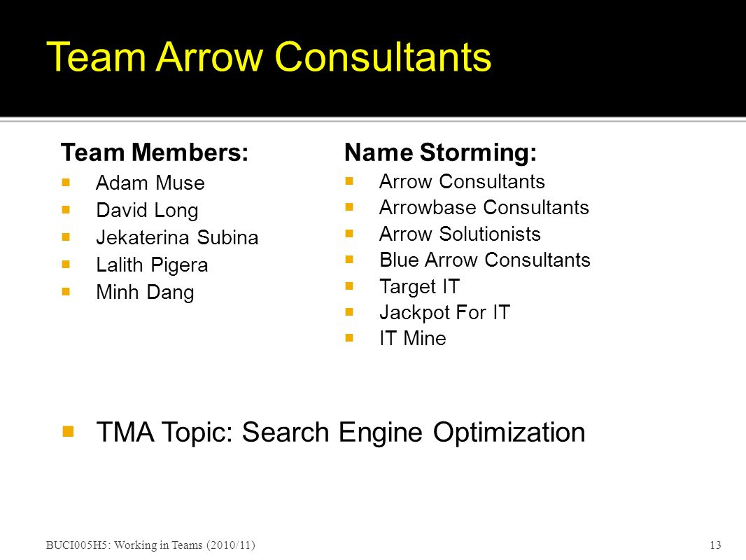 Team Members: Adam Muse David Long Jekaterina Subina Lalith Pigera Minh Dang TMA Topic: Search Engine Optimization BUCI005H5: Working in Teams (2010/11)13 Team Arrow Consultants Name Storming: Arrow Consultants Arrowbase Consultants Arrow Solutionists Blue Arrow Consultants Target IT Jackpot For IT IT Mine