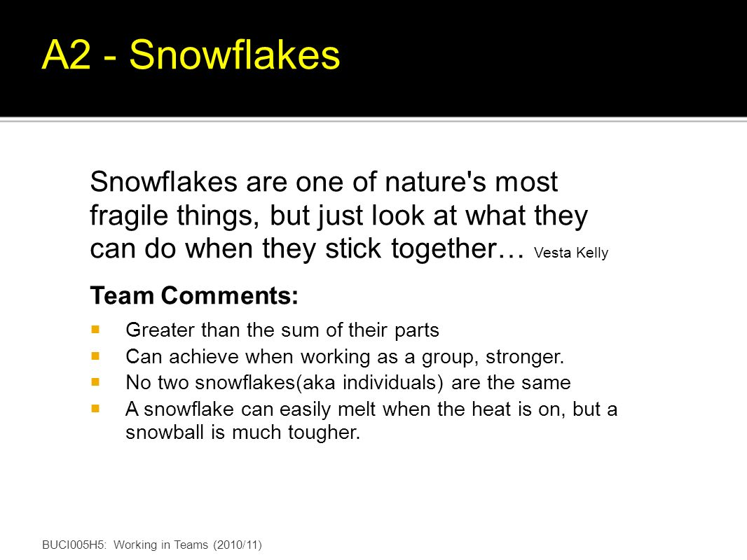 Snowflakes are one of nature s most fragile things, but just look at what they can do when they stick together… Vesta Kelly Team Comments: Greater than the sum of their parts Can achieve when working as a group, stronger.