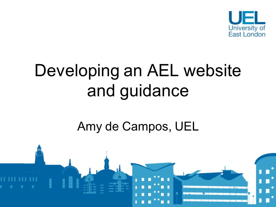 Developing an AEL website and guidance Amy de Campos, UEL