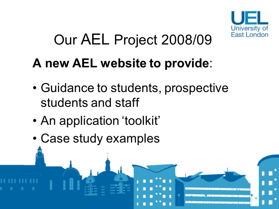 Our AEL Project 2008/09 A new AEL website to provide: Guidance to students, prospective students and staff An application toolkit Case study examples
