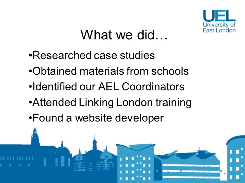 What we did… Researched case studies Obtained materials from schools Identified our AEL Coordinators Attended Linking London training Found a website developer
