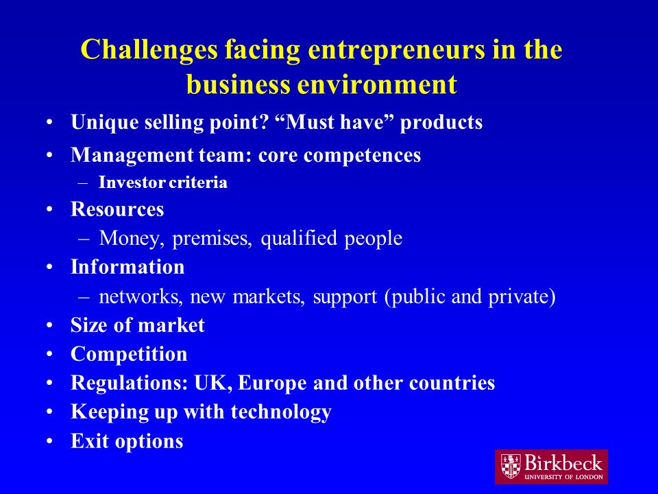 Challenges facing entrepreneurs in the business environment Unique selling point.