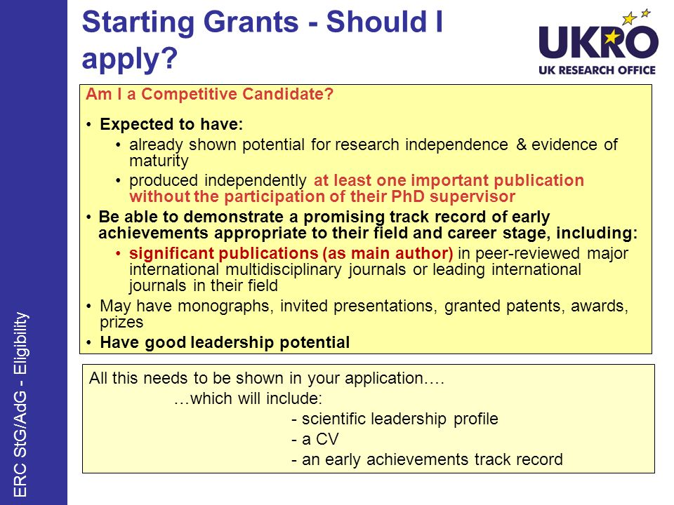 Starting Grants - Should I apply. Am I a Competitive Candidate.