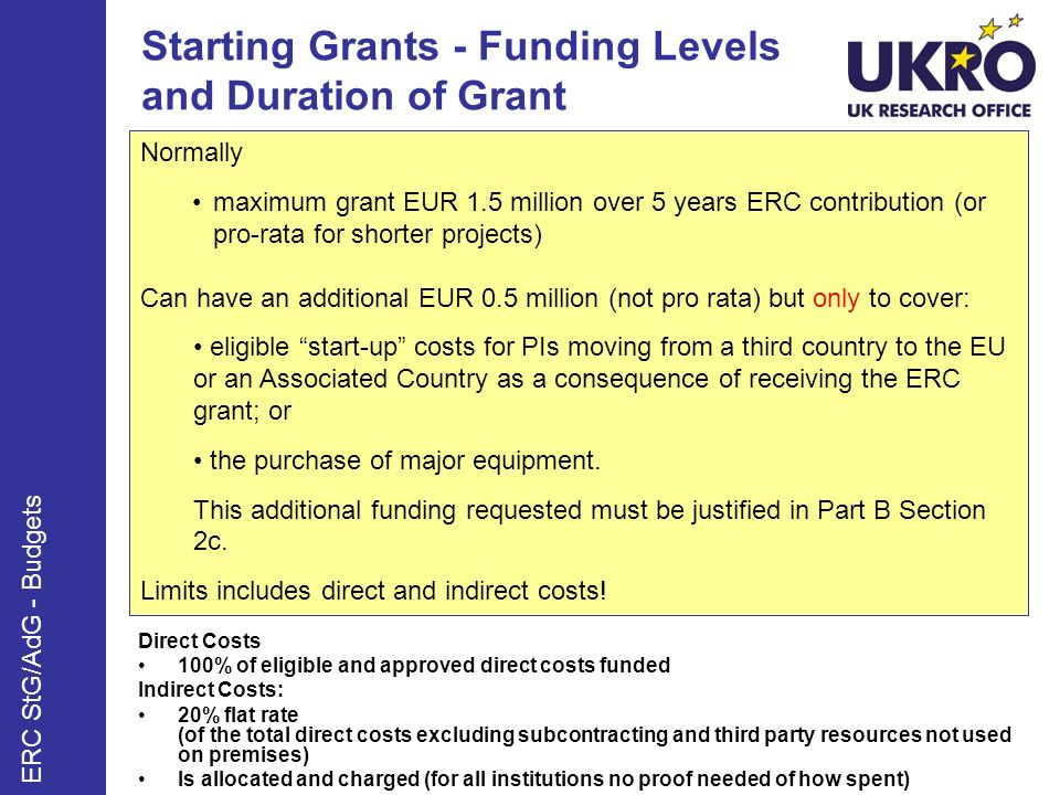 Starting Grants - Funding Levels and Duration of Grant Direct Costs 100% of eligible and approved direct costs funded Indirect Costs: 20% flat rate (of the total direct costs excluding subcontracting and third party resources not used on premises) Is allocated and charged (for all institutions no proof needed of how spent) Normally maximum grant EUR 1.5 million over 5 years ERC contribution (or pro-rata for shorter projects) Can have an additional EUR 0.5 million (not pro rata) but only to cover: eligible start-up costs for PIs moving from a third country to the EU or an Associated Country as a consequence of receiving the ERC grant; or the purchase of major equipment.