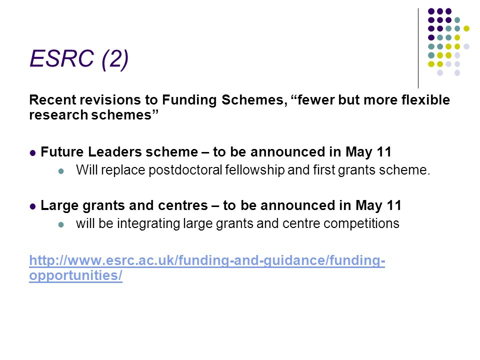 ESRC (2) Recent revisions to Funding Schemes, fewer but more flexible research schemes Future Leaders scheme – to be announced in May 11 Will replace postdoctoral fellowship and first grants scheme.