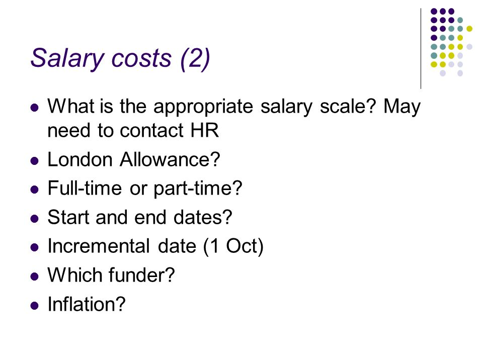 Salary costs (2) What is the appropriate salary scale.