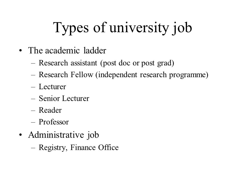 Types of university job The academic ladder –Research assistant (post doc or post grad) –Research Fellow (independent research programme) –Lecturer –Senior Lecturer –Reader –Professor Administrative job –Registry, Finance Office