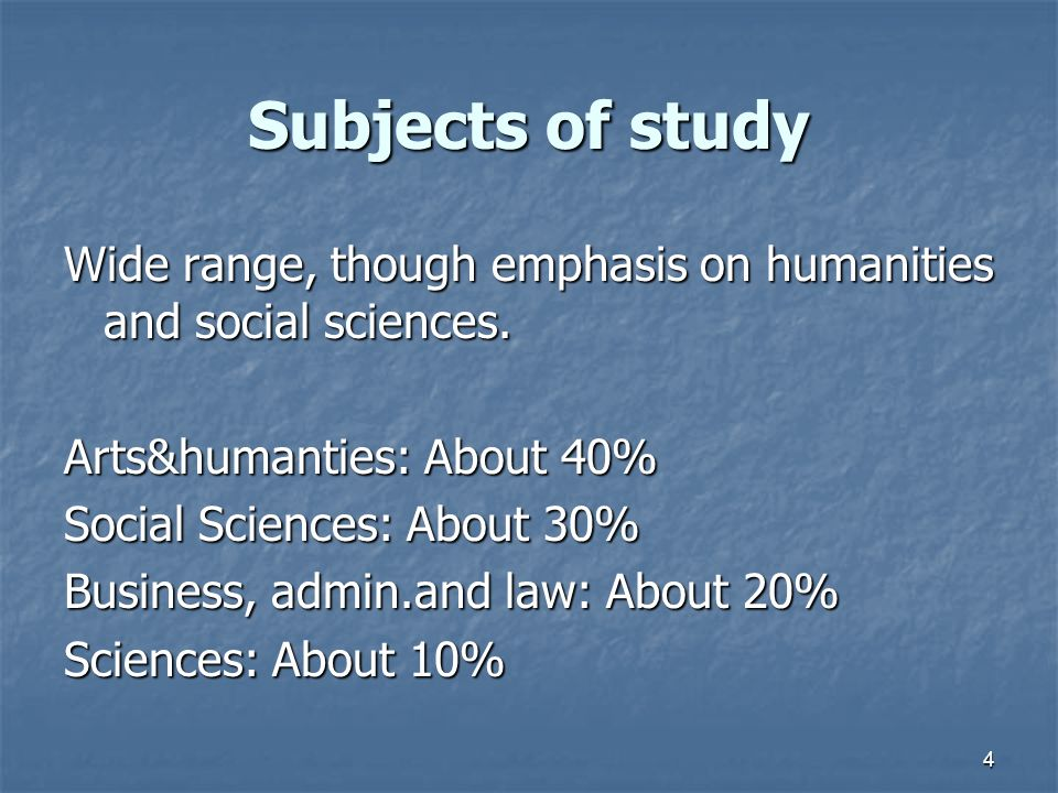 4 Subjects of study Wide range, though emphasis on humanities and social sciences.