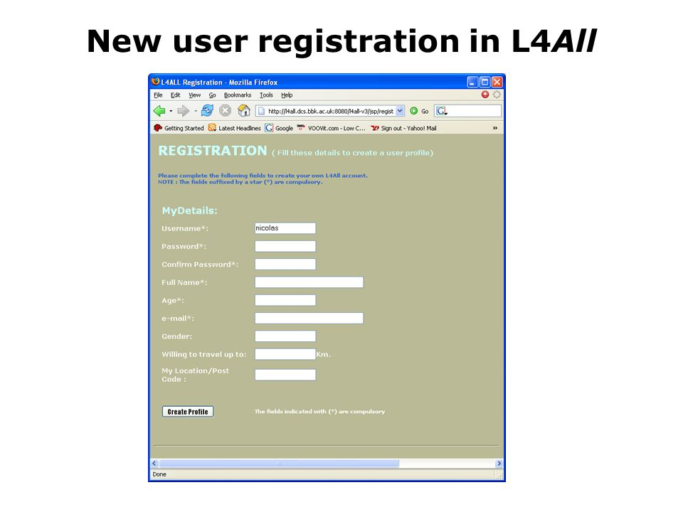 New user registration in L4All