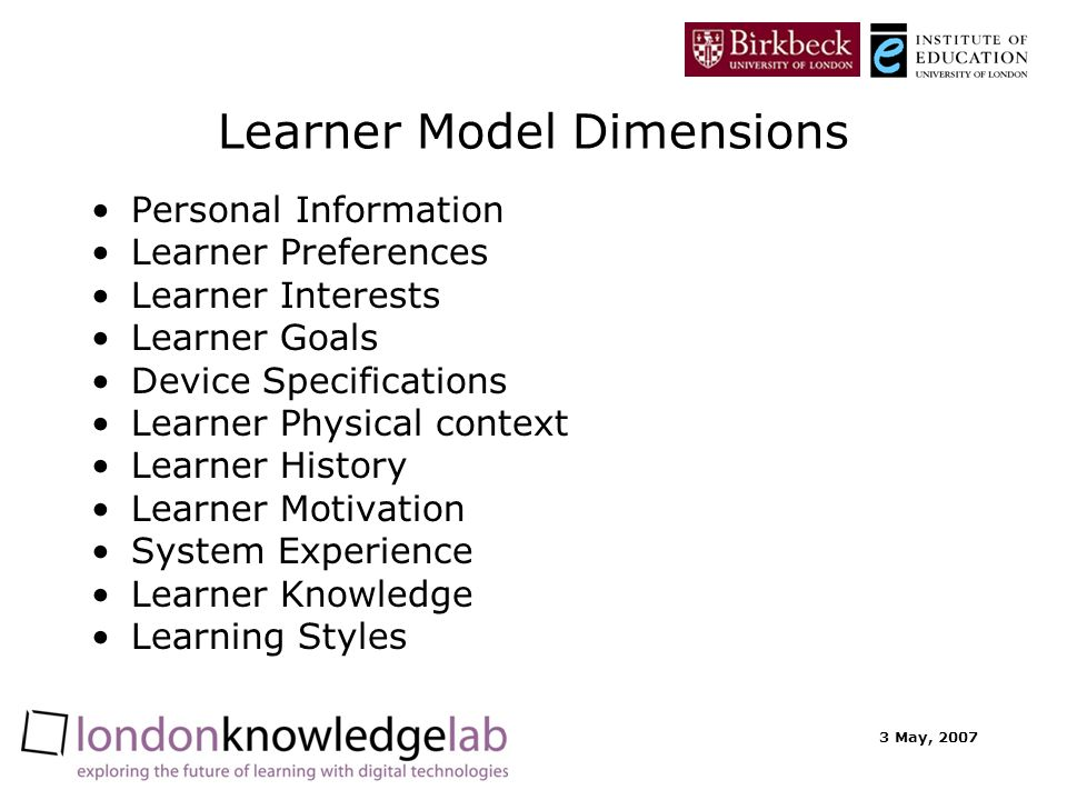 3 May, 2007 Learner Model Dimensions Personal Information Learner Preferences Learner Interests Learner Goals Device Specifications Learner Physical context Learner History Learner Motivation System Experience Learner Knowledge Learning Styles
