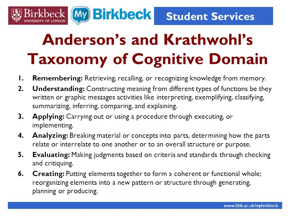 Andersons and Krathwohls Taxonomy of Cognitive Domain 1.Remembering: Retrieving, recalling, or recognizing knowledge from memory.