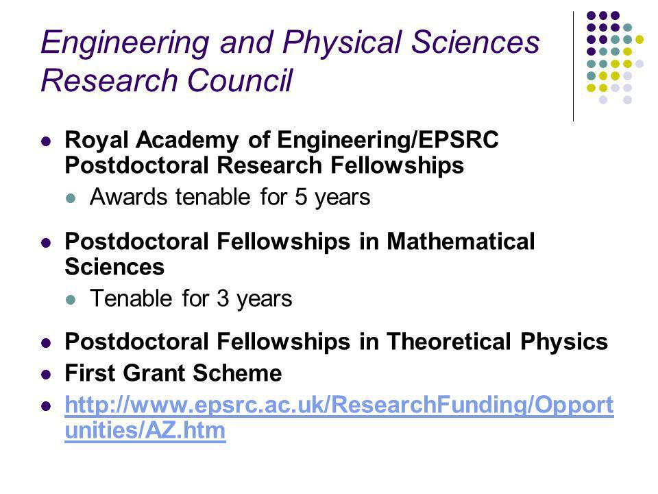 Engineering and Physical Sciences Research Council Royal Academy of Engineering/EPSRC Postdoctoral Research Fellowships Awards tenable for 5 years Postdoctoral Fellowships in Mathematical Sciences Tenable for 3 years Postdoctoral Fellowships in Theoretical Physics First Grant Scheme http://www.epsrc.ac.uk/ResearchFunding/Opport unities/AZ.htm http://www.epsrc.ac.uk/ResearchFunding/Opport unities/AZ.htm