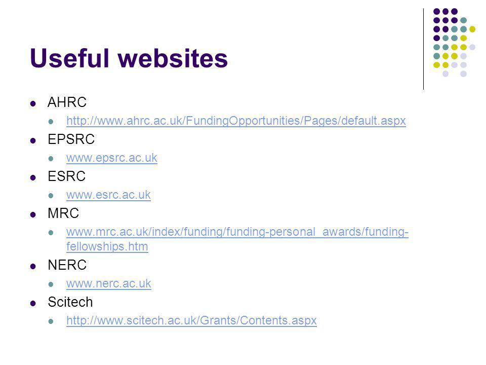 Useful websites AHRC http://www.ahrc.ac.uk/FundingOpportunities/Pages/default.aspx EPSRC www.epsrc.ac.uk ESRC www.esrc.ac.uk MRC www.mrc.ac.uk/index/funding/funding-personal_awards/funding- fellowships.htm www.mrc.ac.uk/index/funding/funding-personal_awards/funding- fellowships.htm NERC www.nerc.ac.uk Scitech http://www.scitech.ac.uk/Grants/Contents.aspx