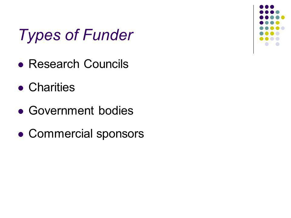 Types of Funder Research Councils Charities Government bodies Commercial sponsors