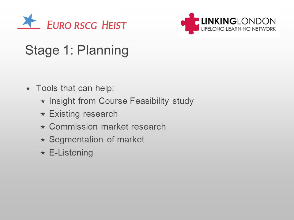 Stage 1: Planning Tools that can help: Insight from Course Feasibility study Existing research Commission market research Segmentation of market E-Listening