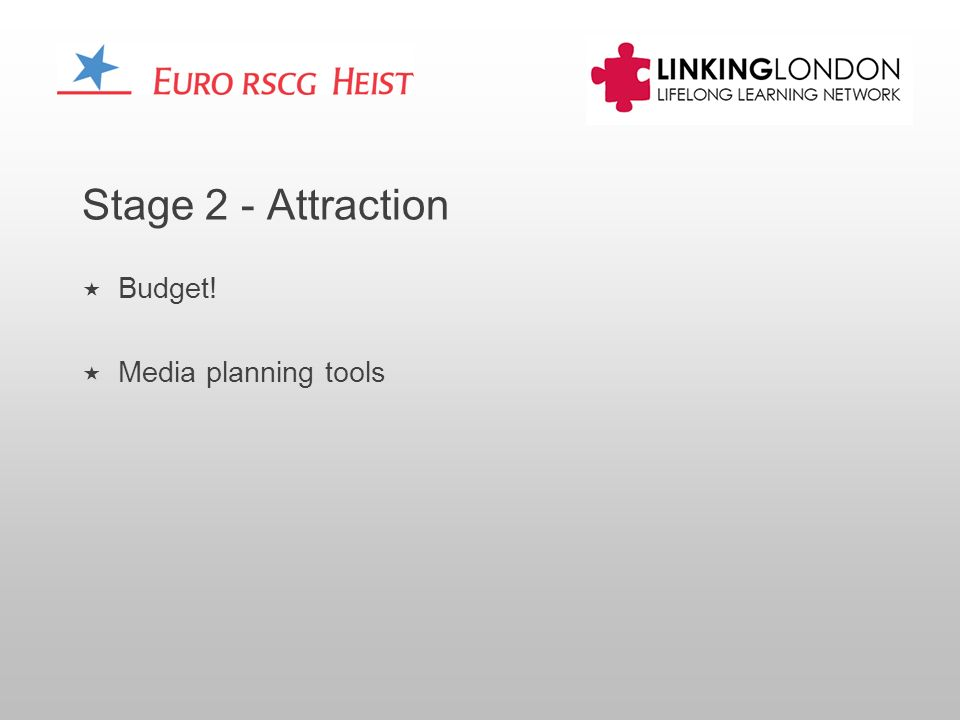 Stage 2 - Attraction Budget! Media planning tools