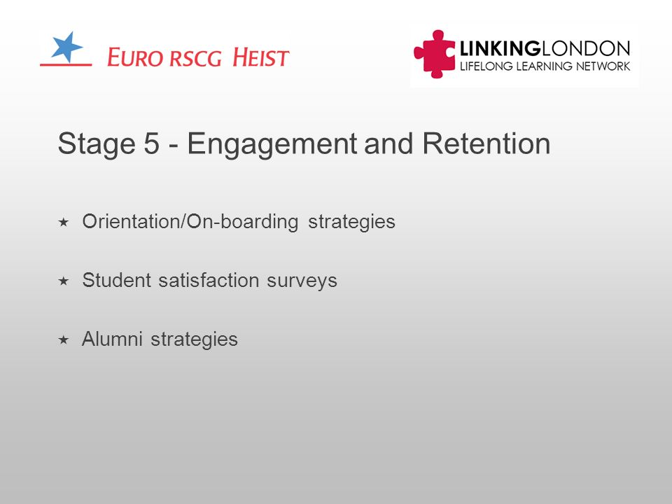 Stage 5 - Engagement and Retention Orientation/On-boarding strategies Student satisfaction surveys Alumni strategies