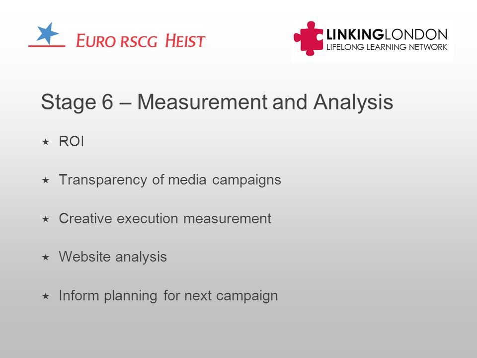Stage 6 – Measurement and Analysis ROI Transparency of media campaigns Creative execution measurement Website analysis Inform planning for next campaign
