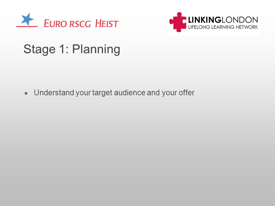 Stage 1: Planning Understand your target audience and your offer