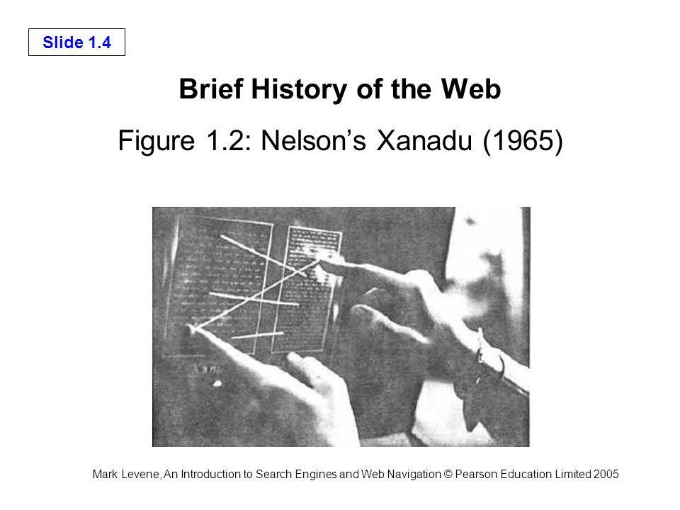 Mark Levene, An Introduction to Search Engines and Web Navigation © Pearson Education Limited 2005 Slide 1.4 Brief History of the Web Figure 1.2: Nelsons Xanadu (1965)