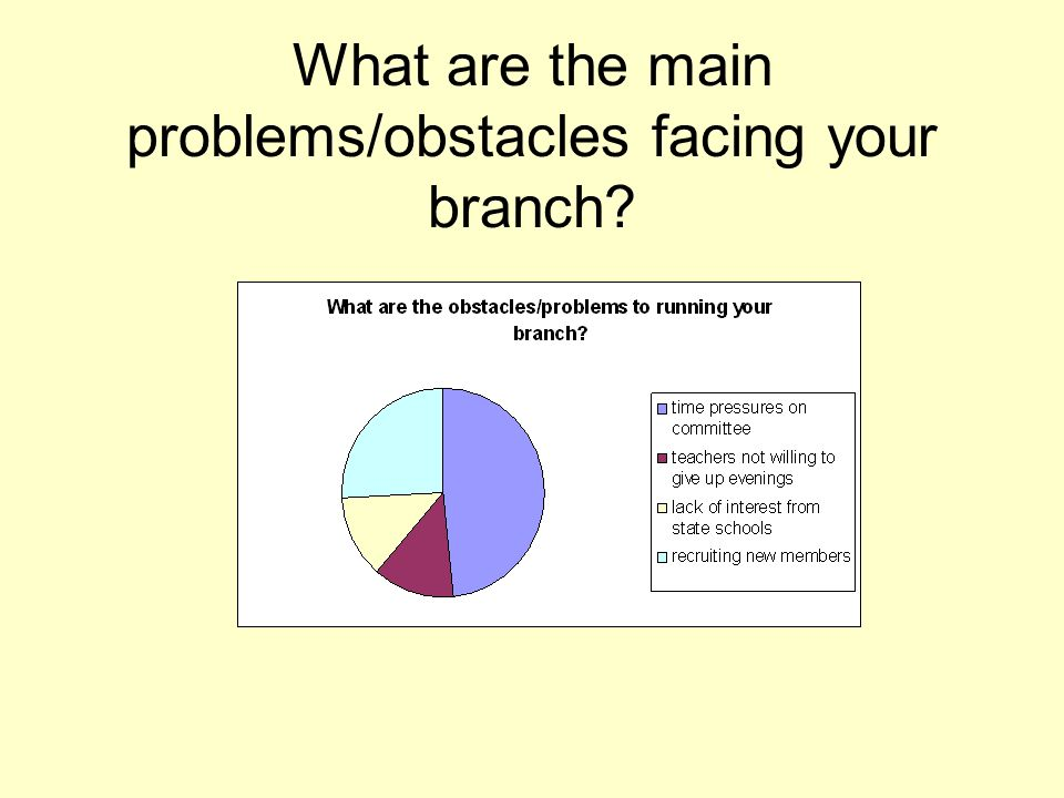 What are the main problems/obstacles facing your branch