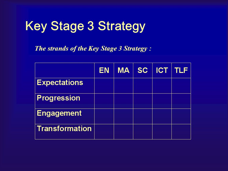 The strands of the Key Stage 3 Strategy : Key Stage 3 Strategy