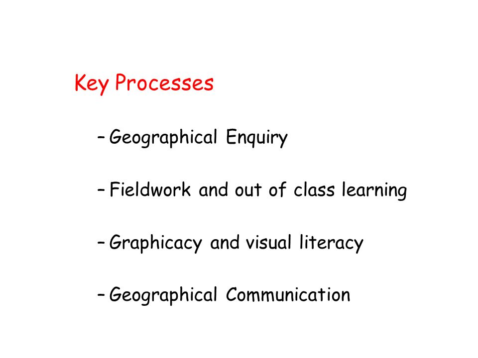 Key Processes –Geographical Enquiry –Fieldwork and out of class learning –Graphicacy and visual literacy –Geographical Communication