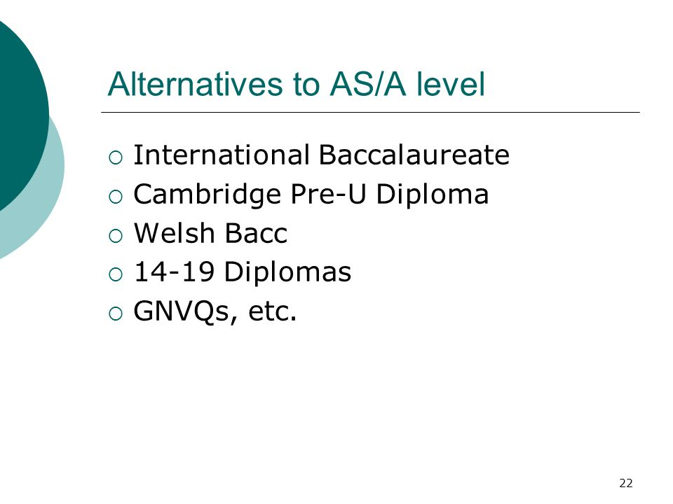 22 Alternatives to AS/A level International Baccalaureate Cambridge Pre-U Diploma Welsh Bacc 14-19 Diplomas GNVQs, etc.