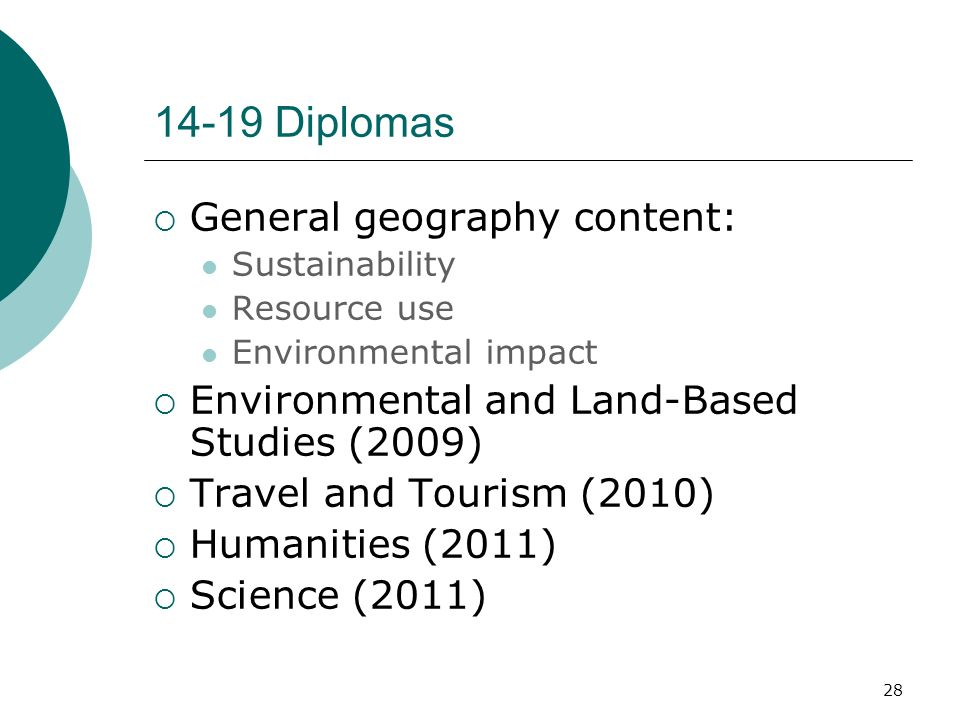 28 14-19 Diplomas General geography content: Sustainability Resource use Environmental impact Environmental and Land-Based Studies (2009) Travel and Tourism (2010) Humanities (2011) Science (2011)