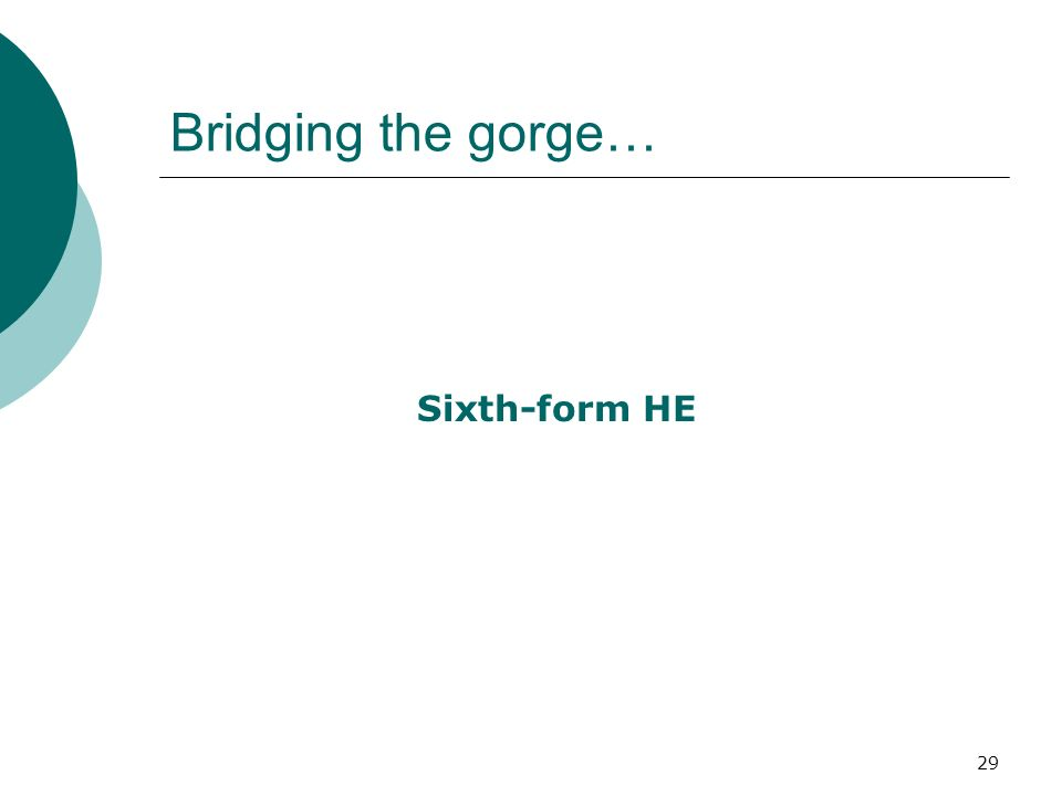 29 Bridging the gorge… Sixth-form HE