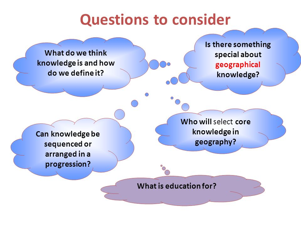 Questions to consider What do we think knowledge is and how do we define it.