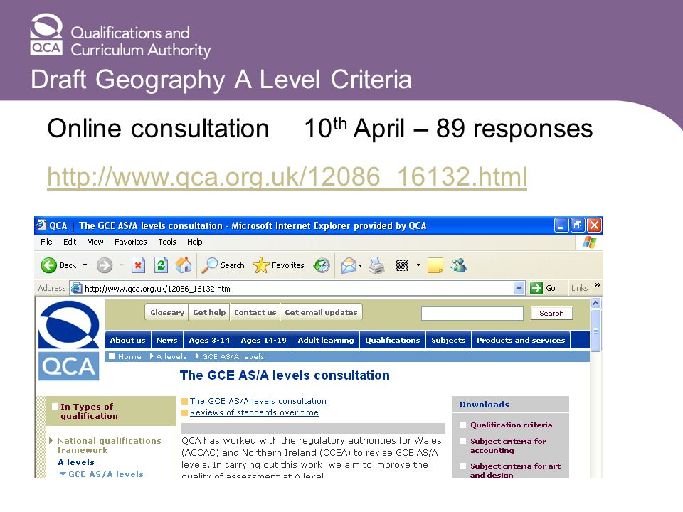 Draft Geography A Level Criteria Online consultation http://www.qca.org.uk/12086_16132.html 10 th April – 89 responses