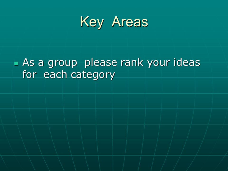 Key Areas As a group please rank your ideas for each category As a group please rank your ideas for each category