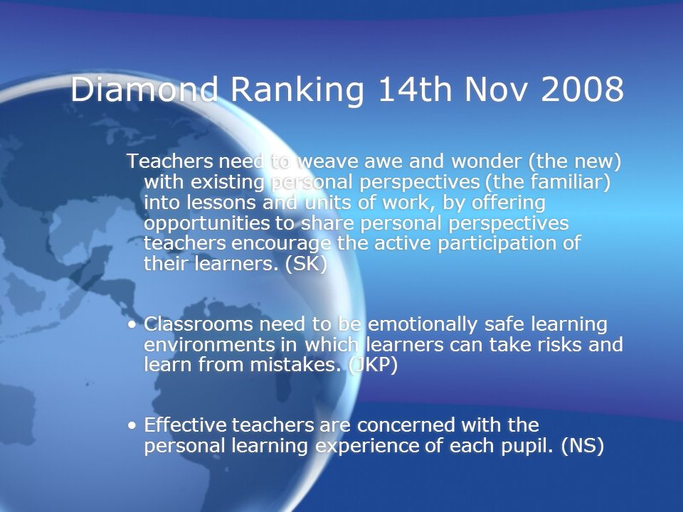 Diamond Ranking 14th Nov 2008 Teachers need to weave awe and wonder (the new) with existing personal perspectives (the familiar) into lessons and units of work, by offering opportunities to share personal perspectives teachers encourage the active participation of their learners.