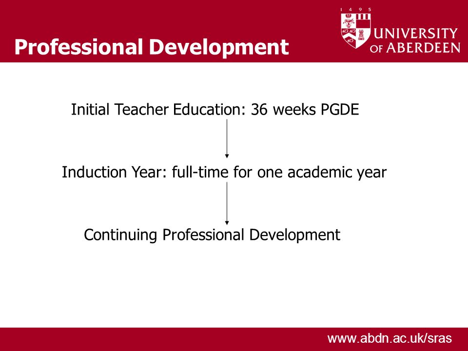 www.abdn.ac.uk/sras Professional Development Initial Teacher Education: 36 weeks PGDE Induction Year: full-time for one academic year Continuing Professional Development